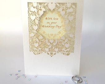 Wedding Day Greeting Card Lace Delicate With love on your wedding day Ivory Pearl Board