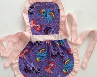 Kids Handmade Aprons, Little Ponies Apron, Play Apron, Child's Apron, Toddler's Apron, Kid's Party Apron, Little Girl Apron, Kids Pinny