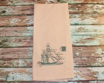 Teal French Nautical Ship Tea Towel, Housewarming, Wedding, Kitchen Decor, Nautical, Beach Decor, Home Decor, Gift
