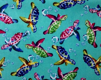 One, Half Yard Piece of Fabric Material - Swimming Turtles