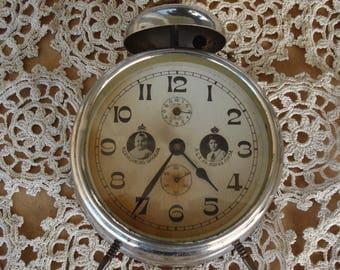 Unique German Antique Mechanical Alarm Clock Haller/ Retro clock/Old alarm clock/ Collectibles/Working/1940s