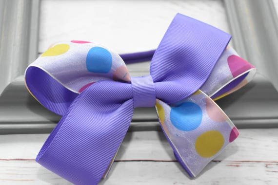 Lilac Polka Dot Bow - Baby / Toddler / Girls / Kids Headband / Hairband / Hair bow / Barrette / Hairclip