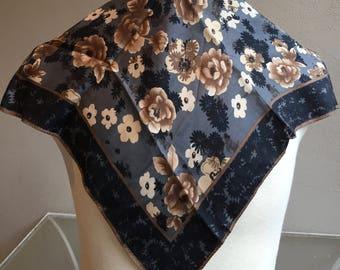 Silk Scarf Designer LIZ CLAIBORNE Flowered Gray Brown Black Square