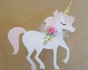 Unicorn Cake Topper! Unicorn birthday cake or Baby Shower! Sparkly! Unicorn Party! Cake Topper! Unicorn! Paper Flower, Glitter