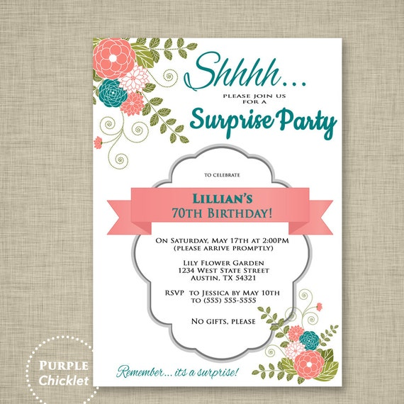 Surprise Invitation 70th Birthday Party Invitation Coral and – 70th Surprise Birthday Party Invitations