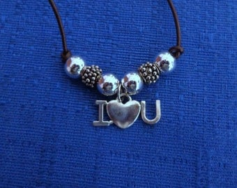 Valentines Necklace,Handmade I Love You Leather Necklace, I Love You Silver Necklace, Valentines Necklace