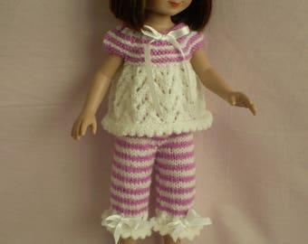 "Hand Knitted 13"" -14"" Poplar dolls pyjamas"