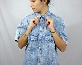 Vintage 90s Shirt Blouse Acid Jean color Short Sleeves Shirt Mens Men Women Womens M Medium