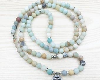 Amazonite 108 Mala Bracelet or Necklace, Lotus Flower Charm, Yoga, Meditation, Buddha, Prayer jewelry, Matte 8mm Free Shipping