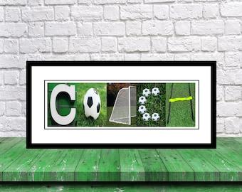 Soccer Coach - Soccer Coach Team Gift - Soccer Letter Art Signatures Coach Gift - Best Soccer Coach Gift -  Soccer Mom - Soccer Gift