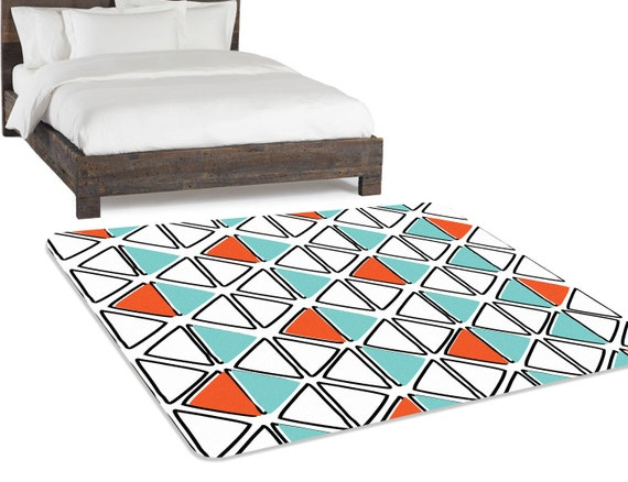 orange turquoise turquoise rug geometric rug by hawkerpeddler. Black Bedroom Furniture Sets. Home Design Ideas