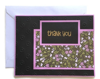 Floral Thank You Card - Thank You Card - Thank You Note - Blank Thank You Card - Embossed Card - Handmade Card - With Envelope - Flower