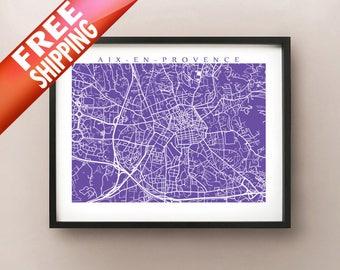Aix-en-Provence, France Map Print