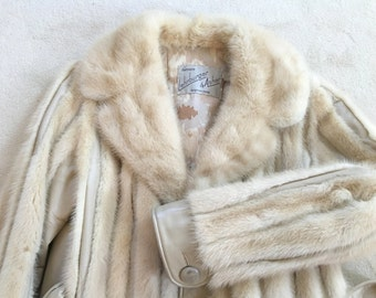 Luxurious Autumn Haze Mink Jacket, Authentic Mink Fur, Real Fur Jacket, Blond Mink Jacket, Leather and Mink Jacket