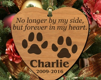 Forever in my Heart~ PERSONALIZED Pet Memorial Ornament, Wooden Keepsake to Remember Cat or Dog