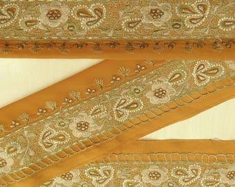 Vintage Indian Sari Border Antique Embroidered Art Decorative Fabric Free Shipping Indian Orange 1YD Trim Ribbon Used Lace VB13354