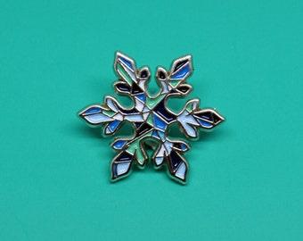Snowflake enamel pin / Mint and blue / Winter