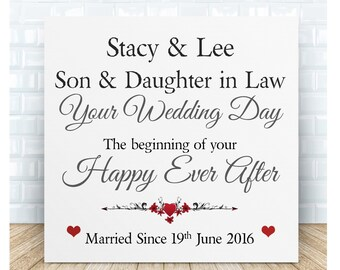 Personalised Son & Daughter in Law Wedding Ceramic Plaque.