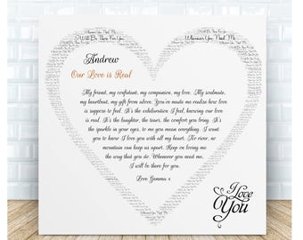 Our Love is Real Love Poem Ceramic Plaque. Personalised Gift.