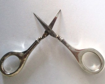 Pair of Victorian  Sterling Silver & Steel Ladies  Scissors