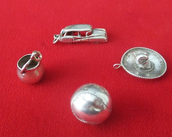 Set of (4) Vintage Sterling Silver Charms/Pendants