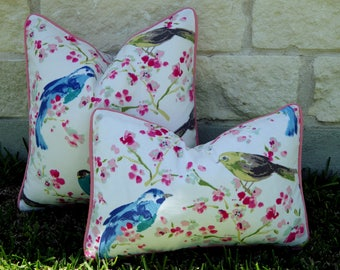 Outdoor Bird Pillow Cover- Pink, White and Blue Outdoor Pillow Cover- Pastel Outdoor Pillow-Floral Outdoor Pillow-Pink and Green Pillow