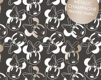 Disney Fabric Minnie Mouse Fabric Face Outline in Black with Champagne Metallic Print From Camelot 100% Cotton