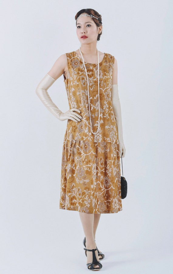 1920s Dresses for Sale Elegant Great Gatsby dress with brown burnout velvet 1920s cut velvet flapper dress brown Charleston dress Downton Abbey evening dress $95.00 AT vintagedancer.com