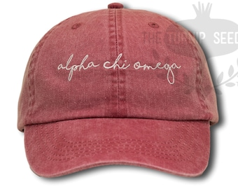 Alpha Chi Omega Handwriting Script Sorority Baseball Cap - Custom Color Hat and Embroidery