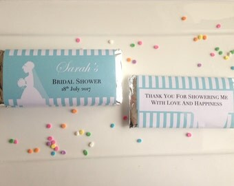 Turquoise / Aqua Personalised Chocolate Wrappers ~ For Bridal Shower, Engagement, Baby Shower, Birthday, Christening