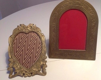 2 romantic picture frames in brass