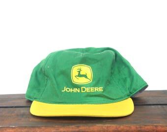 Vintage 90's John Deere Tractors Farming Unstructured Snapback Hat Baseball Cap