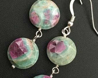 Ruby in Fuchsite Earrings, Gemstone Drop Earrings, Ruby Earrings, Earrings under 100, Gifts under 100, Angel Wear Designs
