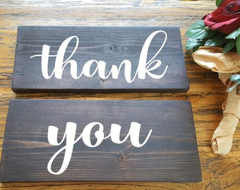 Thank You Signs - 2 wooden handpainted signs - Rustic Wedding Wood Sign - Wedding Photo Props - Bride Groom Sign - Wedding decor- Engagement
