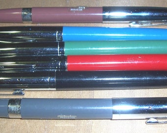 6 vintage Venus hooded-nib fountain pens