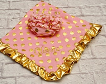 Pink and Gold Polka Dot Blanket, Gold Polka Dot Blanket, Personalized Baby Blanket