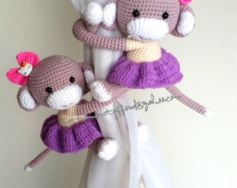 A pair of  Skirt Monkey Curtain Tiebacks, Handmade Monkey Crochet Tiebacks (Both sides) MADE TO ORDER..