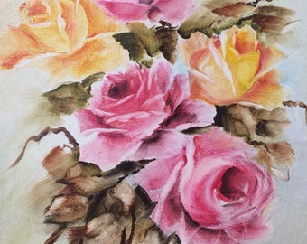 Pink yellow shabby chic roses on an 8 x 10 canvas oil one of a kind