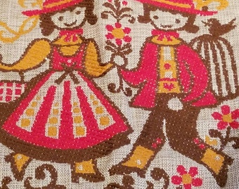Vintage Potholder, Hot Pad, Austria, Folkloric, Red Kitchen, Topflappen, Tiroler Webkunst, Kitsch,  Vintage Home, Hand Stitched Mid Century