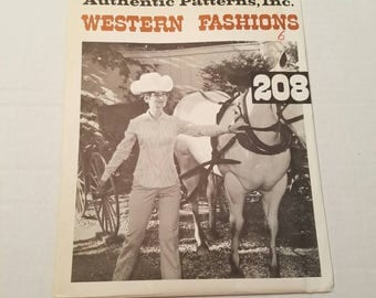 Vintage 1970s pattern, Western Patterns 208, Size 6, Ladies Western Blouse, Uncut sewing pattern, Authentic Patterns, Cowgirl, Rodeo