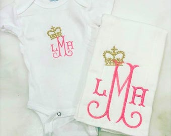 Monogram Baby Girl Gift Set - Onesie and Burp Cloth - Princesss- Initials and Crown