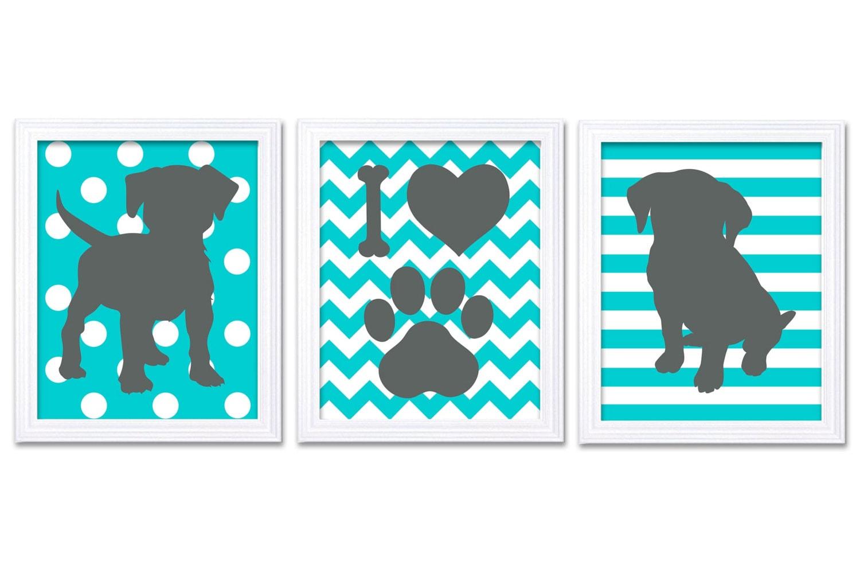 Turquoise Blue Dark Grey Puppy Dog Nursery Art Puppy Prints Set of 3 Prints Stripes Polka Dots Chevr