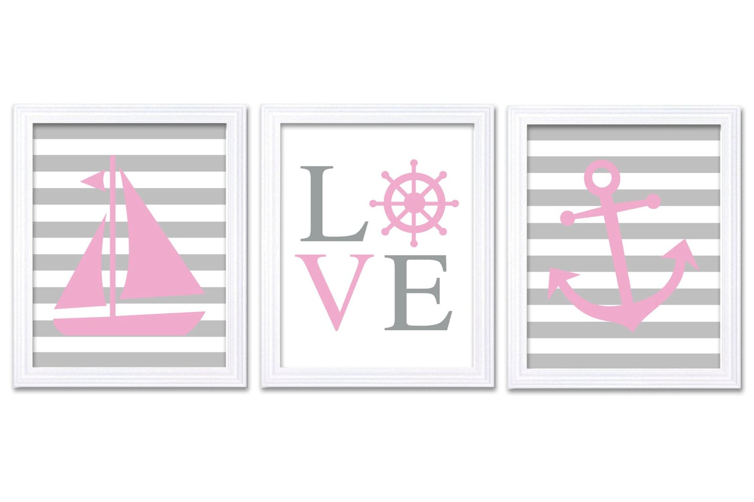 Nautical Nursery Art LOVE Set of 3 Prints Stripe Child Art Kids Room Wall Art Pink Gray Grey Baby Gi