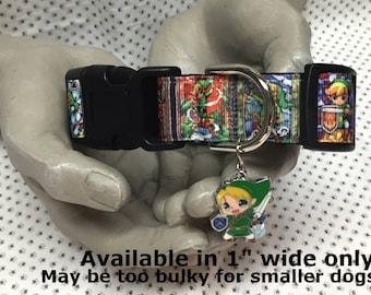 Legend of Zelda Link Adjustable Dog collar with LINK charm Leash Available
