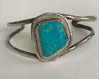 Navajo Sleeping Beauty Turquoise Sterling Cuff Bracelet Old Dead Pawn 925 Silver Vintage Jewelry Native Tribal Birthday Anniversary Gift