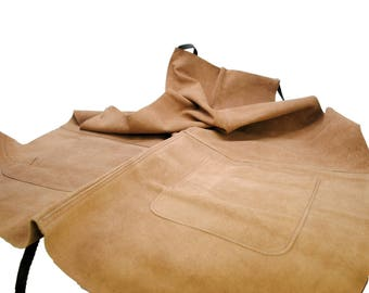 Proops Heavy Duty Suede Leather Work Apron with 2 pockets. (J1121) Free UK Postage