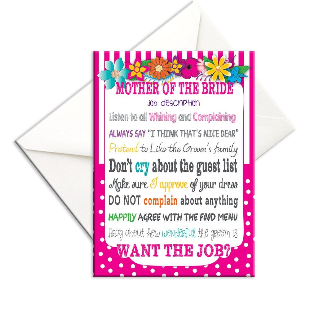 Mother Of The Bride Card With Job Description For Mother Of