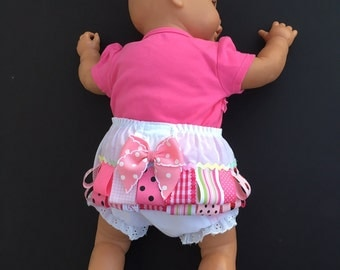 Diaper cover  Ribbons and bow baby bloomers  Fancy pants   6-9 mo. Diaper cover