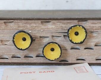 Set of 3 Yellow Metal Poppy Flower Furniture Knobs; Metal Flower Drawer Pull Hardware