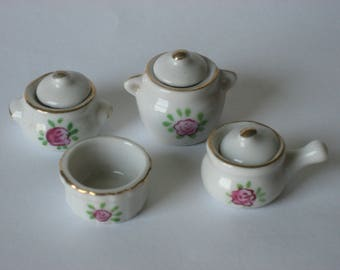 Dollhouse miniature china pots and covers (7 pieces total)